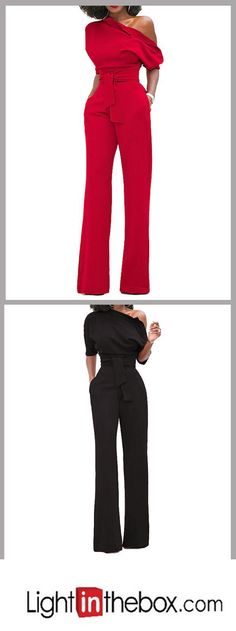 Women's Holiday Simple Solid Round Neck Jumpsuits