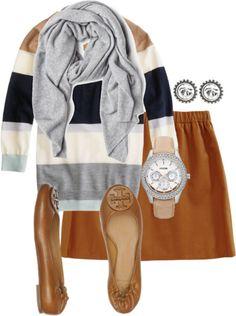 Tory Burch Flats, Skirt, Sweater, Diamond Earrings, and a Grey Scarf