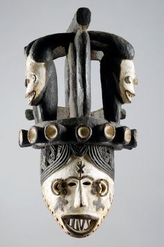 Africa | Mask from the 'mmwo' men's society from the Igbo people of northern Nigeria | Wood and pigment