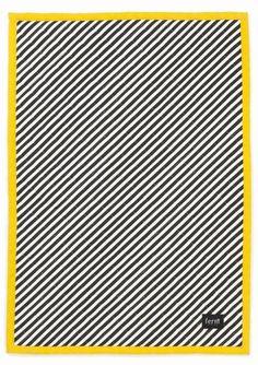 Ferm Living Deken zwart/wit/geel gewatteerd katoen Blanket Neon 70x100cm