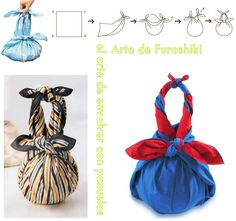 enrHedando: Furoshiki new Tutorials. Wrap with Handkerchiefs Japanese Knot Bag, Japanese Fabric, Diy Clutch, Diy Purse, Furoshiki Wrapping, Gift Wrapping, Japanese Wrapping, Ramadan Gifts, Fabric Gifts