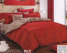 Lenjerie de pat bumbac Pucioasa maro si rosu Home Deco, Bed Sheets, Comforters, Blanket, Decoration Home, Creature Comforts, Blankets, Carpet, Bed Linens