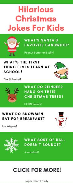 These kids Christmas jokes are perfect to use as an advent calendar or as lunch notes for the holidays. These hilarious jokes are mom and dad approved too! kids christmas 82 Christmas Jokes For Kids Christmas Jokes For Kids, Funny Christmas Games, Christmas Humor, Holiday Fun, Christmas Holidays, Holiday Crafts, Xmas Jokes, Christmas Decorations, Merry Christmas