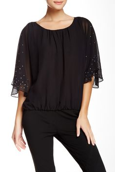 Sheer Angel Sleeve Blouse by Vince Camuto on @nordstrom_rack