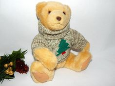 "Hallmark Collectible Christmas Teddy Bear 11"" Beige Stuffed Plush With Knit…"
