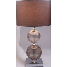Tara 2 Tone Rib Glass Table Lamp - Smoke