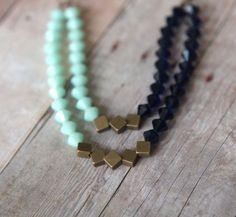Mint + Indigo Blue Necklace - Swarovski Crystal Statement Piece - Double Strand - Antiqued Brass - Wedding - In A Gift Box.