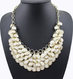 Necklaces : White Rhinestone Gold Plated Chain Multilayer Choker Cheap Necklaces, Jewelry Necklaces, Beaded Necklace, Pendant Jewelry, Pendant Necklace, Chokers, Chain, Gold, Stuff To Buy