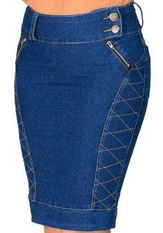 saia jeans escura botoes bordado laterais detalhe ziper justa dyork viaevangelica frente detalhe