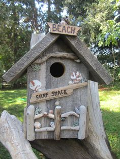 Rustic Surf Shack Functional Birdhouse by BitsoftheWest on Etsy