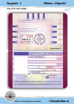 Paspoort 2 voor thema vliegveld, juf Petra van kleuteridee, passport 2 for preschool role play, free printable.
