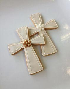 Casue — Decorated Communion Cross Cookies by Casue Baby Cookies, Easter Cookies, Christmas Cookies, Heart Cookies, Summer Cookies, Valentine Cookies, Birthday Cookies, Iced Sugar Cookies, Royal Icing Cookies