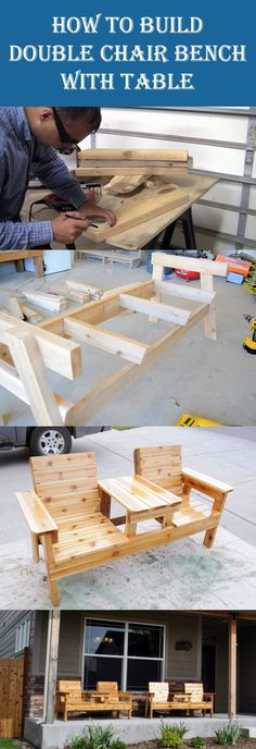 10 Insanely Cool DIY Outdoor Furniture Ideas - Garden Style - 10 Insanely Cool DIY Outdoor Furniture Ideas DIY Double Chair Bench with Table Diy Pallet Projects, Home Projects, Woodworking Projects, Garden Projects, Outdoor Projects, Teds Woodworking, Outdoor Ideas, Outdoor Decor, Outdoor Furniture Plans