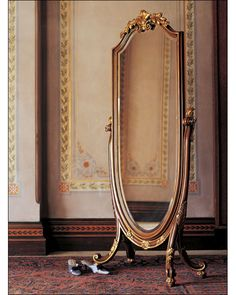 mirror - floor mirror - italian floor mirror - floor mirror and Italian style cheval mirror hand painted in antiqued medium brown finish and gold leafed accents