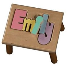 Personalized Pastel Puzzle Step Stool-1-8 letters - Color: Natural Step Stools, Stool Chair, Princess Castle, Kids Bedroom, Little Ones, Toy Chest, Storage Chest, Nursery, Children