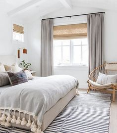 This serene boho bedroom by Amber Interiors is recreated for less by copycatchic. This serene boho bedroom by Amber Interiors is recreated for less by copycatchic luxe living for less budget home decor and design room redos Bedroom Windows, Cozy Bedroom, Dream Bedroom, Trendy Bedroom, Serene Bedroom, Bedroom Neutral, Budget Bedroom, Bedroom Beach, Grey Curtains Bedroom