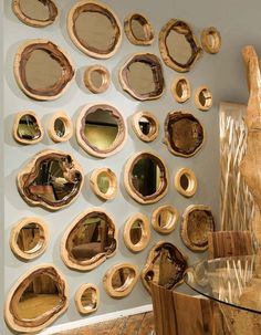 Natural Slice Wood Wall decor mirrors