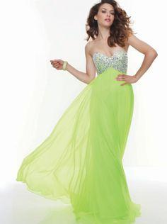 A-line Sequins Bodice Green Chiffon Prom Dress Formal Dress/ Evening Dress Parai 93023