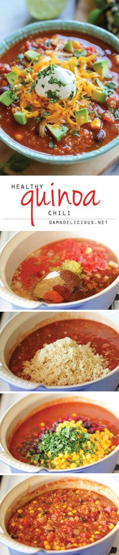 Quinoa Chili - This vegetarian, protein-packed chili is the perfect bowl of comfort food that you can eat guilt-free! (use vegan cheese and sour cream)