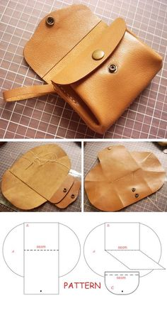 How to DIY Leather Accordion Purse ~ Step by Step Illustration Tutorial. Wall-E .How to DIY Leather Accordion Purse ~ Step by Step Illustration Tutorial. Wall-E ., accordion DIY for wallet Leather Bag Tutorial, Leather Bag Pattern, Sewing Projects For Beginners, Sewing Tutorials, Sewing Tips, Sewing Hacks, Diy Projects, Bag Sewing, Sewing Patterns