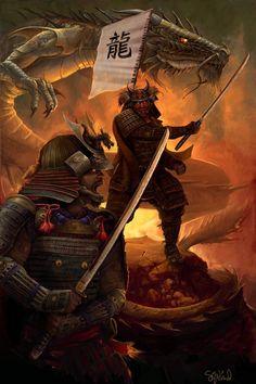 Samurai Art | Samurai Spirit Picture (2d, fantasy, armor, fire, dragon, samurai ...