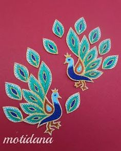 aari work , peacock motif, Indian embroidery