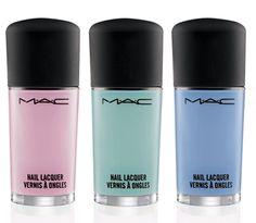 MAC Baking Beauties Collection for Spring/Summer 2013 Nail Lacquer ($16.00 U.S. / $19.00 CDN) (Limited Edition)  Confectionary Light blue pink (Cream) Pistachio Creme Light teal mint (Cream) Blue Velvet Light periwinkle blue (Cream)