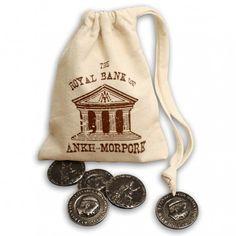 Official Discworld coins from the streets and pockets of Ankh-Morpork, presented in a Royal Bank of Ankh-Morpork money bag!
