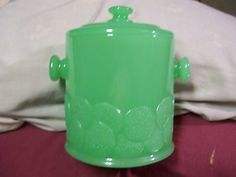 JADE JADITE JADEITE GREEN GLASS SALT CELLAR COOKIE CANISTER JAR KITCHEN VINTAGE   eBay
