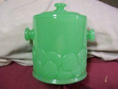 JADITE GREEN GLASS SALT CELLAR CANISTER -Fenton
