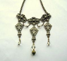 Filigree Necklace - Victorian Style Necklace - Silver Tone - Renaissance Fair Necklace by BohemianGypsyCaravan