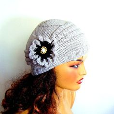Excited to share this item from my shop: Christmas Gift, Gray Hat, Knit Gray Winter Beanie, Women Gray Beret, … Knitted Hats, Crochet Hats, Crochet Beanie, Girl Beanie, Beanie Hats, Beanies, Grey Hat, Lace Gloves, Fingerless Gloves