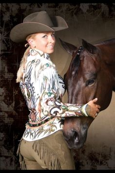 Horse photography, cowgirl western apparel and her dark chocolate colored horse. Cutting western quarter paint horse appaloosa equine tack cowboy cowgirl rodeo ranch show pony pleasure barrel racing pole bending saddle bronc gymkhana Western Show Shirts, Western Show Clothes, Horse Show Clothes, Western Outfits, Cowgirl And Horse, Sexy Cowgirl, Cowgirl Style, Cowgirl Chaps, Cowgirl Fashion