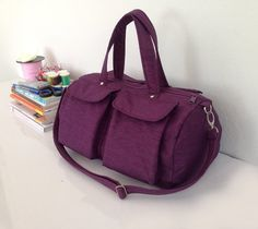 SALE Purple Handbag in Water-Resistant Nylon / Purse / Carry on Messenger / Day bag / Shoulder / Travel / Unisex / Men Women on Etsy, $42.75