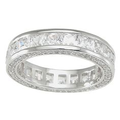 Plutus High Polish Sterling Silver TCW 1 carat Princess-cut Cubic Zirconia Eternity Band - 14779081 - Overstock.com Shopping - Big Discounts on Cubic Zirconia Rings