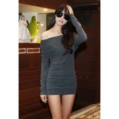 $7.54 Alluring Off-The-Shoulder Solid Color Slimming Crease Design Long Sleeves Club Dress For Women