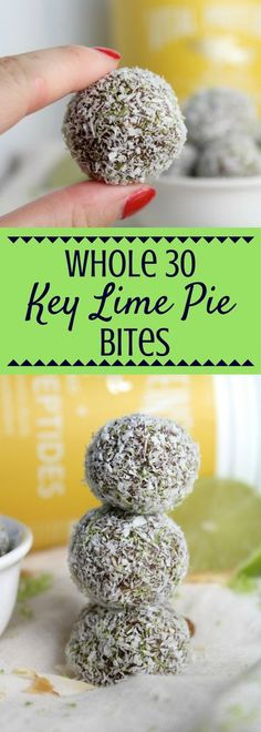 Need a quick, healthy, portable snack? Try this Whole 30 Key Lime Pie Bites Recipe! Paleo, gluten-free + SO delicious! They taste just like dessert! This post is sponsored by my friends at Vital Proteins but all opinions are my own. | paleo | whole 30 | h
