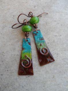 Granny Smith ... Enameled Copper Lampwork and Copper Wire-Wrapped Boho Rustic Southwestern Earrings (46.00 USD) by juliethelen - handmade - jewelry - jewellery - artisan - etsy