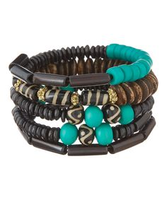 Take a look at this ZAD Brown & Turquoise Bead Coil Bracelet today!