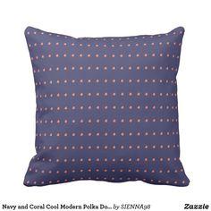 Navy and Coral Cool Modern Polka Dots Pattern