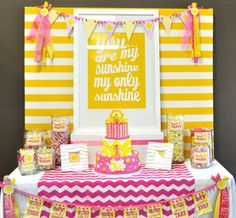"Table idea for "" you are my sunshine"" party"