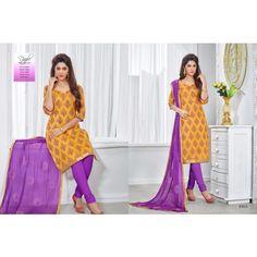 Unstitched Churidar mustard with purple color Cotton Printed designer Salwar Kameez Dress Material
