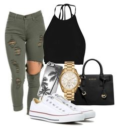 """""""ootd"""" by alyssa-levesque on Polyvore featuring mode, Boohoo, Michael Kors, Zero Gravity et Converse"""