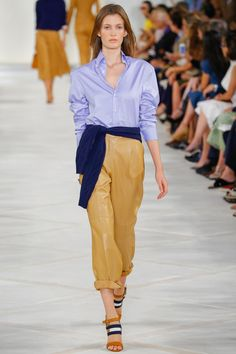 Loving the off-center tied shirts at Ralph. Ralph Lauren Spring 2016 Ready-to-Wear Collection Photos - Vogue