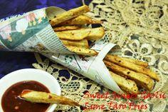 Sweet Ginger Garlic Lime Taro Fries With Garlic Chilli Sauce