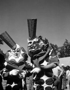 "Ringling Circus clowns Albert ""Flo"" White, left, and Gene Lewis in Sarasota, Florida. ca. 1945 Credit: Joseph Steinmetz"