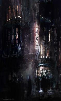 Cyberpunk City - Concept Art by Yan Ostretsov Sci Fi Fantasy, Fantasy World, Dark Fantasy, Cyberpunk City, Futuristic City, Matte Painting, Illustration Art, Illustrations, Sci Fi Environment
