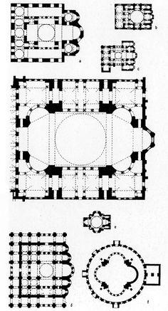 Justinian's Hagia Sophia (centre) compared with: a Hagia Sophia , Thessaloniki; b Daphni monastery church; c the original Theotokos church of Constantine Lips (Fenari Isa, Camii), Istanbul; d Hagia Sophia, Kiev; e Holy Cross Aght'amar; f palace chapel, Zvart'nots