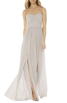Color Oyster - think this could work too.  Social Bridesmaids Strapless Georgette Gown available at #Nordstrom