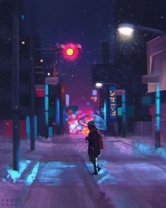 Snowy - Day by AngelGanev on DeviantArt Cyberpunk Aesthetic, City Aesthetic, Aesthetic Anime, Cute Animal Drawings, Cute Drawings, Illustration Comic, Anime Scenery Wallpaper, Snowy Day, Dark Anime